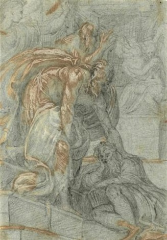 various figure studies study for an elaborate base possibly for a bronze rectoverso by antonio campi