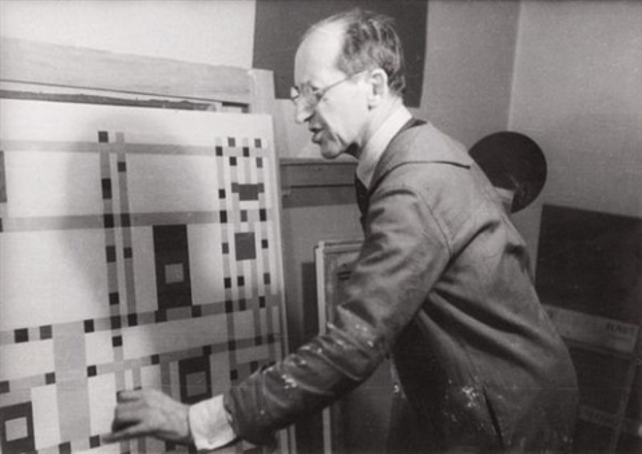 portrait de mondrian dans son atelier by fritz glarner