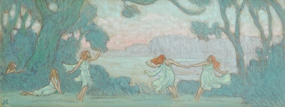 petites danseuses de loie füller près du lac by jean francis auburtin