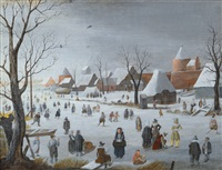 skaters in front of a town by hendrick avercamp