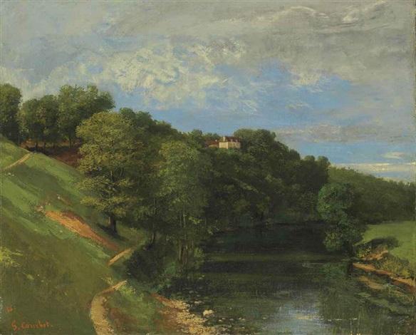 château au bord de la rivière by gustave courbet