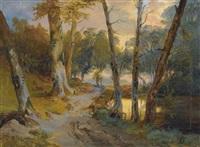 wald mit kleinem weiher (forest interior with pond) by karl blechen
