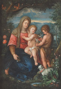 mary with christ and john the baptist by peter (petrus) snyers