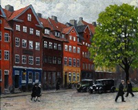 spring day at gråbrødretorv square in copenhagen by paul gustave fischer