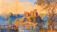 lakeland scene with castle and figures by john joseph cotman