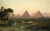pyramiderna vid giza från nilens strand by georg von rosen