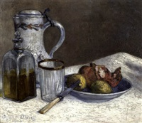 nature morte, flacon, grenades, citrons by adolphe albert