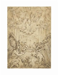 the resurrection with saints andrew, john the baptist, cosmas and damian by giorgio vasari