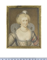 queen anne of denmark, queen consort of england and ireland (after paul van somer) by george perfect harding