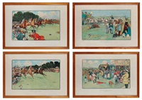 the bluemarket races: the start, the finish, homewards, between the races, on the road and arrival on the course (set of 6) by cecil charles windsor aldin