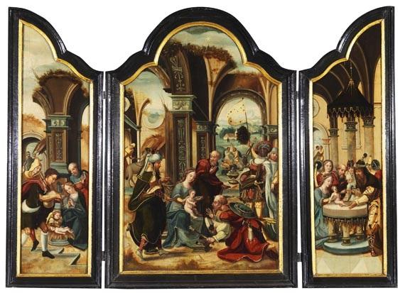 triptychon mit der anbetung der könige auf den seitenflügeln die anbetung der hirten und die darbringung im tempel by pieter cock van aelst the elder