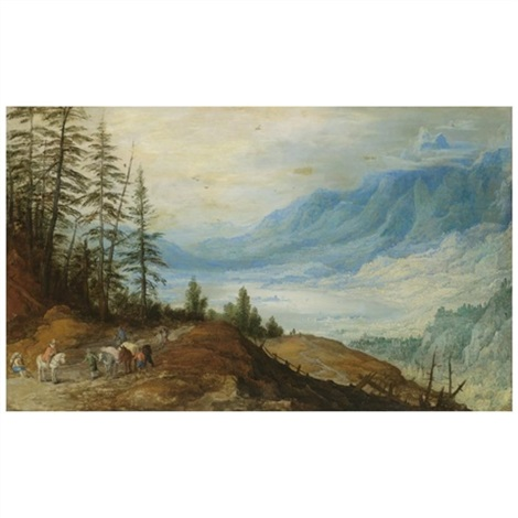 a mountainous landscape with travellers on a road in the foreground a large lake below and beyond by joos de momper the younger and jan brueghel the younger