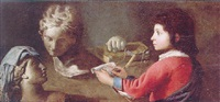 a young boy sketching classical busts by simon renard de saint-andre