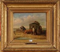chiens tirant la charette de moules sur la plage by édouard-joris moerenhout