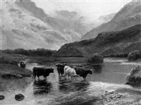cattle watering in a mountainous river landscape by william davies