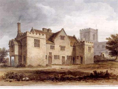 remains of the priory house at edyngton wiltshire by john buckler