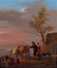 un couple de berger avec leur troupeau by dirk van bergen
