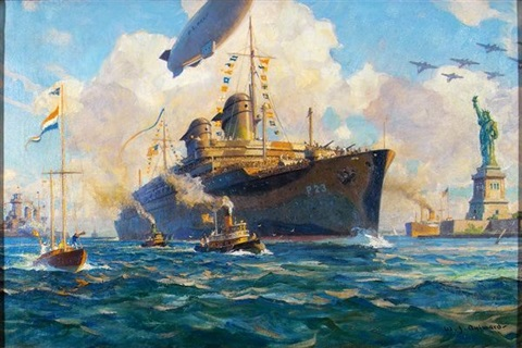 navy battle ship sailing in celebration past statue of liberty by william james aylward