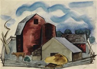 untitled (barns) by charles henry alston