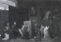 sir peter paul rubens painting in his studio by a. gotti