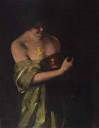 lady with daffodil by florence carlyle