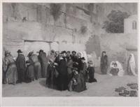 juifs priant devant le mur des lamentations, jérusalem by alexandre bida