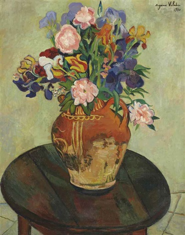 bouquet de fleurs sur un guéridon by suzanne valadon