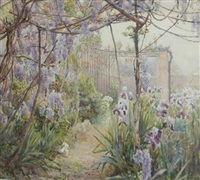 a day in the courtyard (study of wisteria and irises) by sophie mildred atkinson