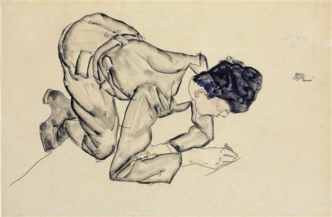 erich lederer, drawing on the floor (recto)and erich lederer in profile, hand to head (verso) by egon schiele