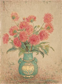 chrysanthemums in a green vase by pan yuliang