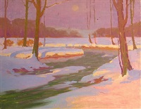 snow scene by moonlight (albany county) by henry james albright