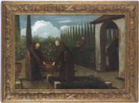 mönche bei der arbeit im klostergarten by giovanni facciola