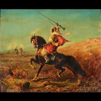 arabian horseman by adolf schreyer