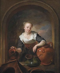 a kitchen maid in a niche with a jug and other earthenware by louis de moni