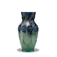 vase feuillages modernes et fleurs by gabriel argy-rousseau