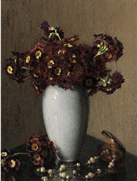 sweet-williams in a vase and a pearl necklace on a table by wilhelm andersen