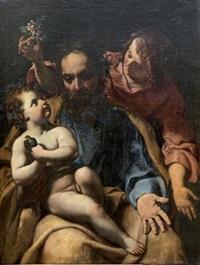 saint joseph, l'enfant jésus et un ange by alessandro tiarini