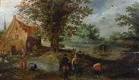 cavaliers s'éloignant d'une ferme by peter gysels