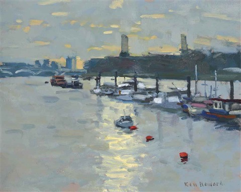 battersea power station from the thames by ken howard