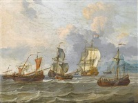 two dutch men o'war, sloops and other vessels in choppy waters, off a mountainous coastline by adam silo