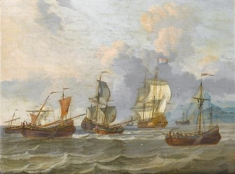 two dutch men owar sloops and other vessels in choppy waters off a mountainous coastline by adam silo