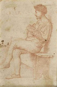 a lutenist, seated on a bench, seen in profile by giovanni agostino da lodi