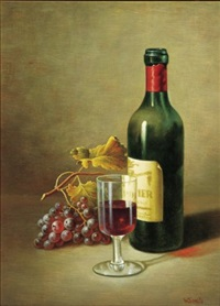 still life of wine bottle, glass and grapes by w. smits