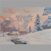 winterabend in bischofswiesen, berchtesgaden by erwin kettemann