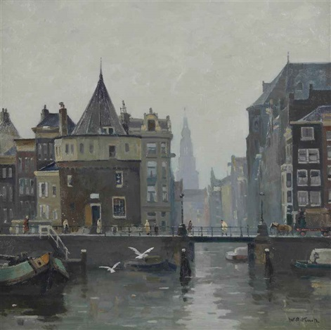 a view of the schreierstoren amsterdam by willem alexander knip