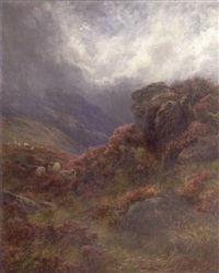 heather in bloom, galloway by james faed the younger