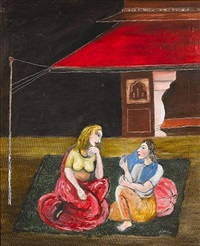 women conversing on a terrace by tassaduq sohail