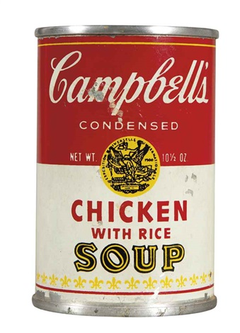 campbells chicken with rice soup by andy warhol