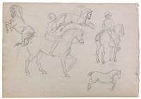 feuille d'études recto-verso : cavaliers et chevaux, figures d'après des monnaies antiques et portrait d'homme de profil by eugène delacroix