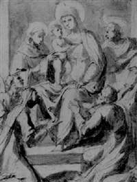 the madonna and child adored by five saints by giovanni dei vecchi
